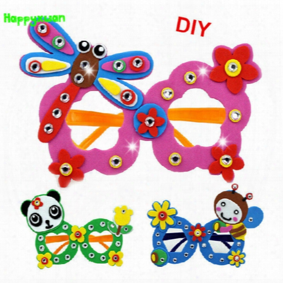 Happyxuan 16 Pcs/lot Cute Diy Cartoon Glasses Eva Craft Kits Kindergarten Toys For Kids Birthday Party Gift