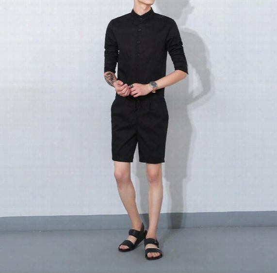 Men's Casual Loose Bib Overalls Men's Streetwear Jumpsuit Harem Cargo Shorts Korean Harajuku Hip Hop Cargo Rompers