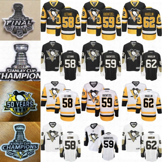 Mens Pittsburgh Penguins Jerseys 59 Jake Guentzel 58 Kris Letang 62 Carl Hagelin With 50 Years Patch 2016 2017 Stanley Cup Champions Patch