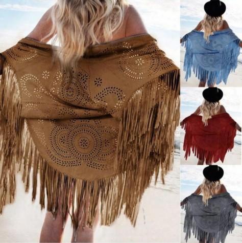 New Fashion Women Soft Faux Suede Fringed Shawl Scarves Soild Tassel Jacket For Ladies Free Shipping