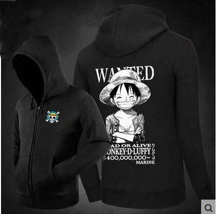One Piece Luffy Hoodie 100% Cotton Printed Pattern Fashion Hooded Men's Fleece Zipper Cardigan Sweatshirts