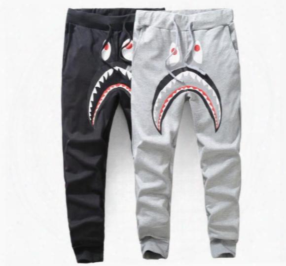 Palace Black Half And Half Joint Joggers 2017 New Hip Hop Pants Men Harajuku High Fashion Streetwear Asian Size! Shark Cartoon