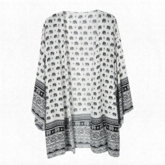 Plus Size Women's Bohemian Blouse Print Elephant Vintage Kimono Cardigan Summer Beach Cover Cape Tops Shirts Chiffon Ebroidered