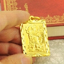18K solid gold pendant men's loyalty Guan Gong Guan Er Ye square pattern blessing card tag necklace men