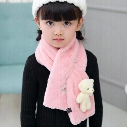 2016 Autumn Winter Children Faux Rabbit Fur Scarf Wraps Warm Soft Scarves Solid Colors Cross Neckerchief For Boys Girls Kids With Bear Toy