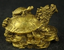 Exquisite Chinese hand carved brass fortune dragon turtle auspicious statue