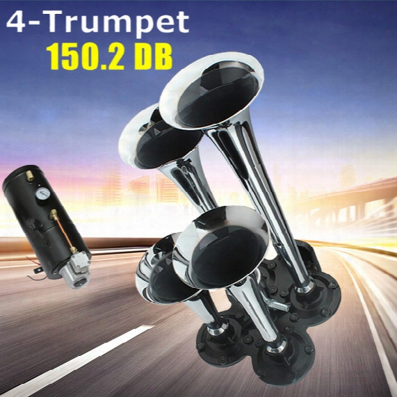 Universal 12v / 24v 150 Db 100 Psi Silver Chrome Plated Zinc Alloy 4 Trumpet Train Air Horn Kit For Car Vihicle Aup_418