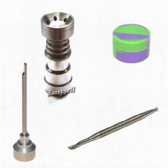Universal Tabacco 4 In 1 Titanium Nail 14/18mm Gr2 Titanium Nail With Carb Cap Dabber Tool Slicone Jar Dab Container