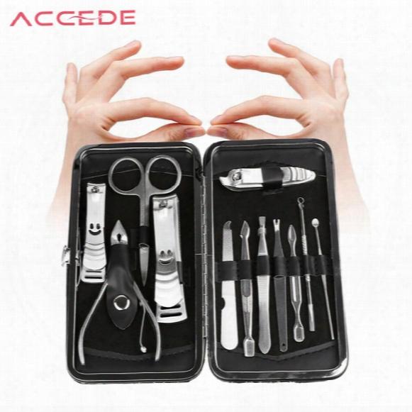 Wholesale- 12pcs Nail Care Tool Sets+cuticle Knife + Eyebrow Tweezer+ Nail Clipper Kit Stainless Manicure Set Pedicure Scissor