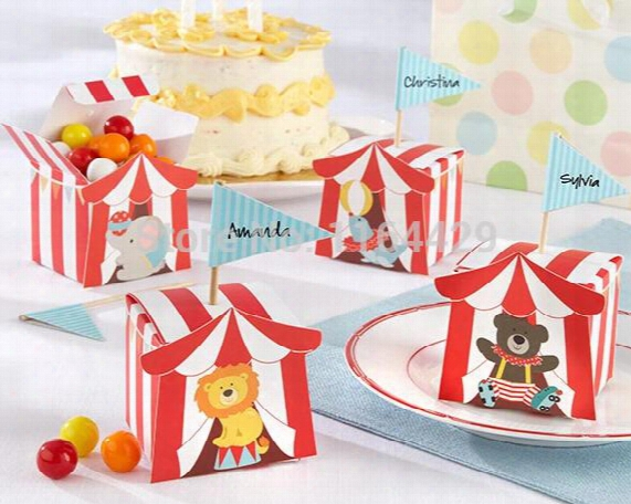 Wholesale- 30 Pcs Animal Candy Boxes For Carnie Circus Themed Children's Day Birthday Party Kids Thanks Gift Boxes