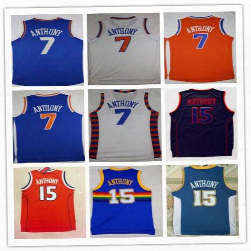Wholesale 7 Carmelo Anthony Basktball Jerseys Sports Syracuse 15 Carmelo Anthony College Shirt Uniform Throwback Rainbow Blue White Black