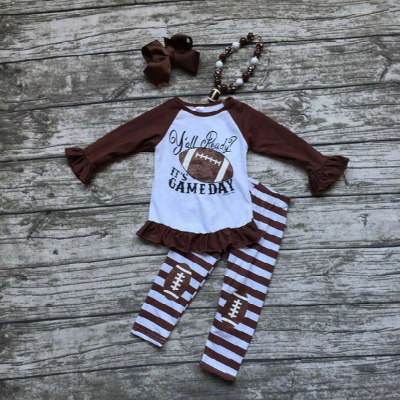 Wholesale- Girls Football Outfit Clothing Baby Girls Y'all Ready It's Game Day Clothing Girls Football Stripe Pant Sets With Accessoreis