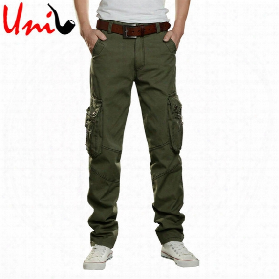 Wholesale-uni-splendor Big Size 28-42 Men Army Green Cargo Full Pants Black/khaki Straight Casual Overalls Regular Trousers For Man Yn371