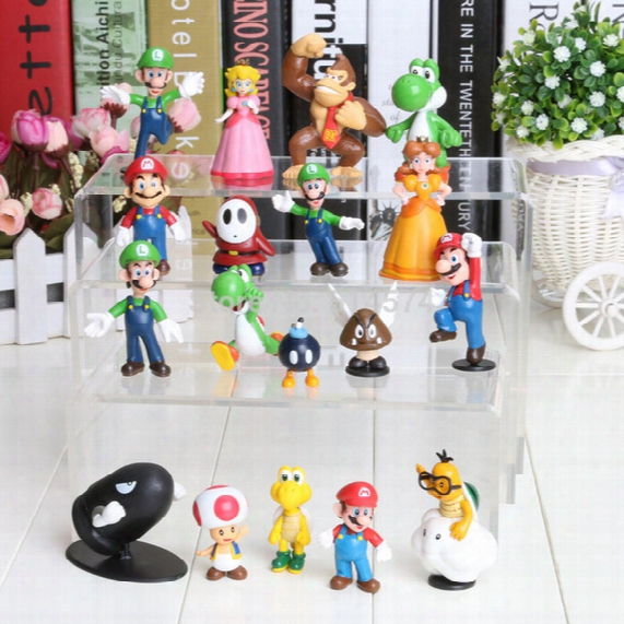 "Wholesale-wholesale 18pcs Super Mario Bros 1-2.5"" Figure Toy Doll Super Mario Brothers Fun Collectible Pvc Figures Super Mario Figure"