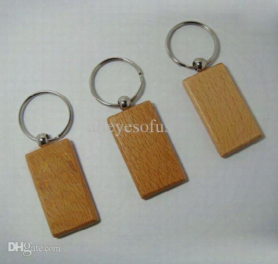Wholesale-wholesale 50pcs Blank Wooden Key Chain Promotion Rectangle Carving Key Id Can Engrave Diy 2.2''*1.25'' -free