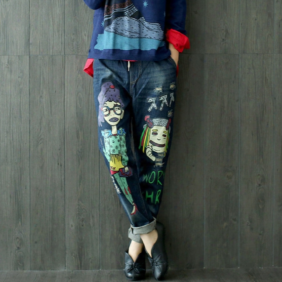 Wholesale- Women Korean Cartoon Personality Hole Loose Denim Trousers Ladies Elastic Wais Straight Denim Pants Female Character Print Jeans