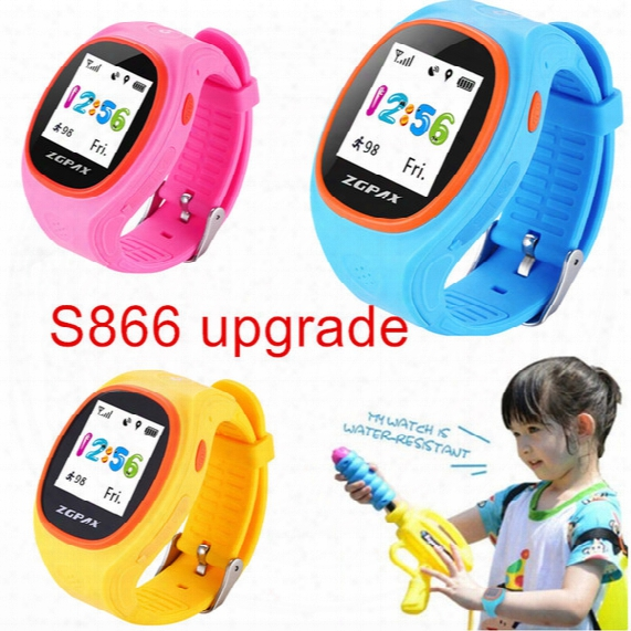 Wholesale- Zgpax S866a Kids Waist Gps Tracking Sim Card Smart Watch With Sos Lbs Mini Children Security Bracelet Digital For Ios & Android