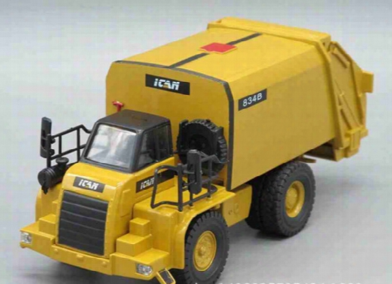 Yellow Children Garbage Truck Sanitation Trucks  Toy Car Model With Trashcan Free Shipping For Usa Russian European Kids Gifts