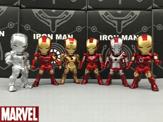 1set 6 Styles Iron Man Movie Led Light Pvc 9cm Action Figures Movable Vehicle Best Gift For Kids