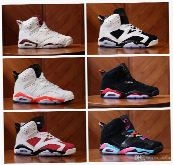 2017 Retro 6 Iv Basketball Shoes Sneakers For Women & Men Wholesale High Quality Carmine Maroon White Oreo Sport Sneakers Us 5.5-13
