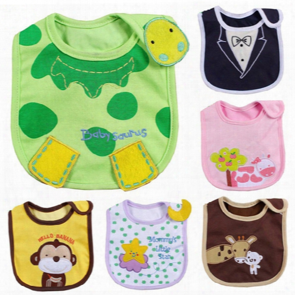 3-layer Cotton Baby Waterproof Bib Feeding Cartoon Infant Bibs & Burp Cloths 39 Styles Good Quality 0601027