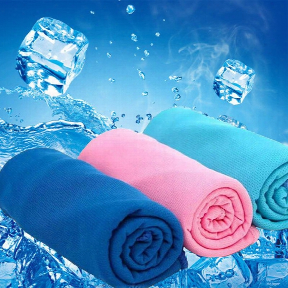 300pcs New Arrival Magic Ice Towel 90 * 35 Cm Multifunctional Cooling Summer Cold Sports Towels Cool Scarf Ice Belt For Children Adult