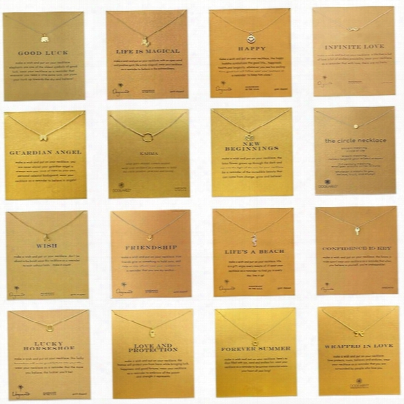 35 Styles Dogeared Choker Necklaces With Card Gold Circle Elephant Pearl Love Wings Cross Unicorn Pendant Necklace For Fashion Women Jewelry