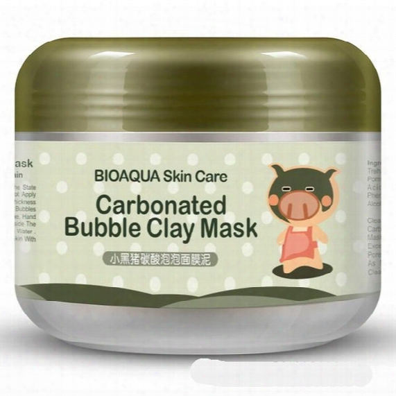 Bioaqua Pig Carbonated Bubble Clay Mask 100g Remove Black Head Acneshrink Pores Face Care Facial Sleep Mask