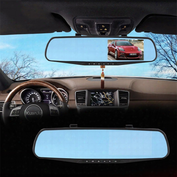 "Car Dvr Mirror Dual Camera 4.3"" Dual Lens Dash Cam Recorder Full Hd 1080p Rearview Two Cameras Parking Rear View Video Camcorder 010230"