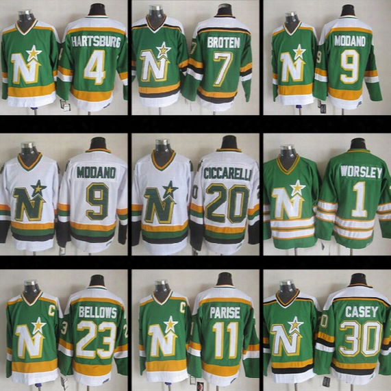 Ccm Cheap Minnesota North Stars Neal Broten Mike Modano Dino Ciccarelli Brian Bellows Gump Worsley 30 Jon Casey Parise Hockey Jerseys