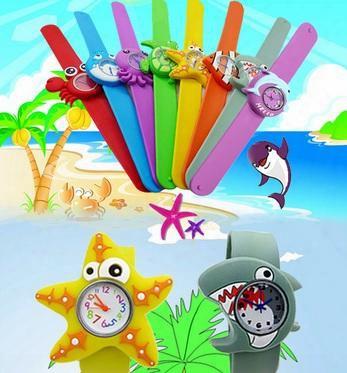 Cute Models Ocean Animal Series Slap Watch Animal Cartoon Slap Snap Watches Silicone Wrist Watches Conducive To Children Gift Wristwatch 100pcs/lot