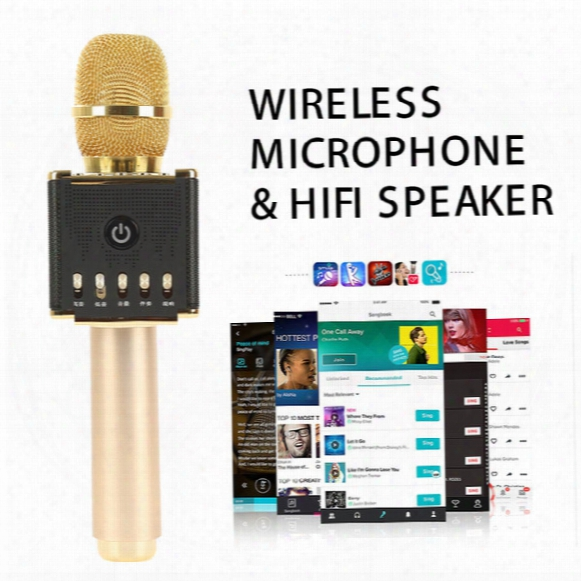 Dhl Shipping H8 Bluetooth Wireless Smart Karaoke Microphone Speaker Subwoofer Home Ktv For I-os Android Tf Card Support
