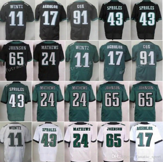 Discount 11 Carson Wentz Jersey 43 Darren Sproles 17 Nelson Agholor 24 Ryan Mathews 65 Lane Johnson 91 Fletcher Cox Home Green Black White