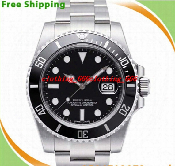 Factory Supplier Luxury Men Watches Top Quality Original Box Black Ceramic Bezel Dial 116610 16610 Stainless Steel Automatic Mens Men's Watc