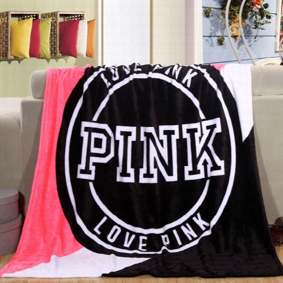 Fashion Vs Pink Letter Blanket Soft Beach Towel Blankets Air Conditioning Rugs Comfortable Carpet High Quality
