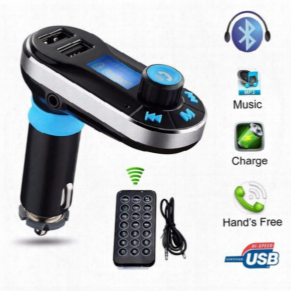 Fm Transmitter Receiver Bluetooth Car Kit Mp3 Player Bt66 Dual  Usb Lcd Display Car Kit Handsfree Car Charger