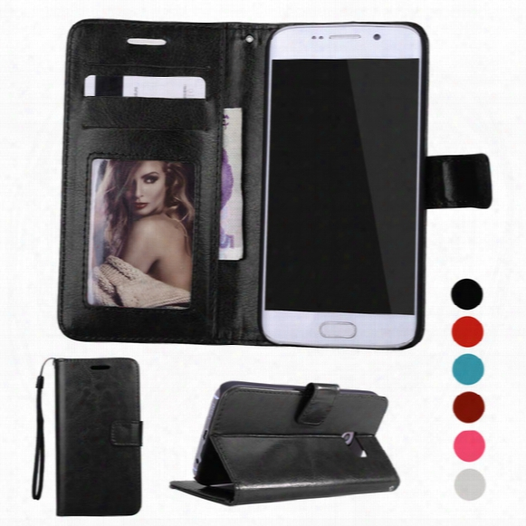 For Galaxy S8 S8 Plus Retro Wallet Flip Leather Case Cover Photo Frame Card Holder Slots Pocket For Samsung S6 S7/s7 Edge