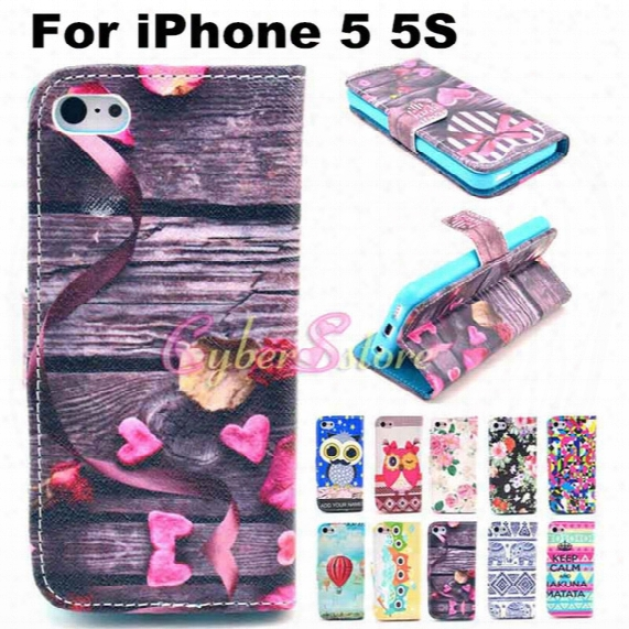 For Iphone 5 5s Case Cute Owl Tribe Flower Balloon Stand Wallet Pu Leather Case Cover With Card Holder Money Pocket For Iphone5