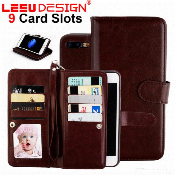 For Iphone 8 Wallet Case Pu Leather Cases With Photo Frame 9 Cash Slot Credit Card Pocket With Stand For Iphone 6 Plus S8 Plus S8 For Note 8