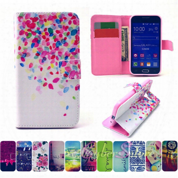 For Samsung Core Prime G360 Leather Tpu Flip Wallet Phone Case Cover With Card Slot Holder Money Pocket Stand For Galaxy G3608