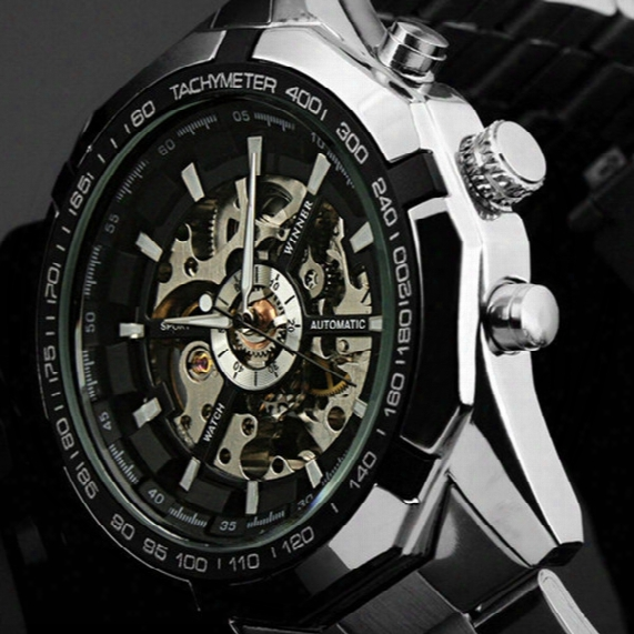 Hot 2017 Winner Luxury Brand Luxury Sport Men Automatic Skeleton Mechanical Military Watch Men Full Steel Stainless Band Reloj