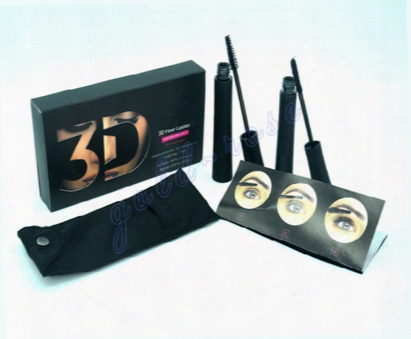 Hot New Makeup Mascara Set 3d Fiber Lashes Black Color High Quality 2pcs=1set Dhl Free Shipping+gift