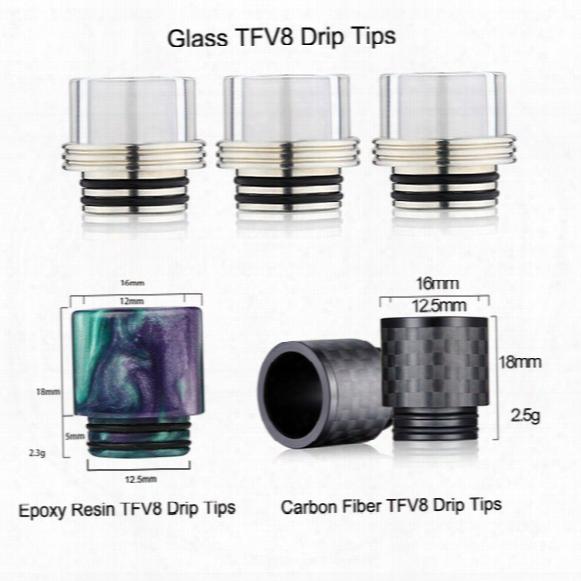 Hottest Epoxy Resin Glass Carbon Fiber Tfv8 Drip Tip Fo Rtfv8 Atomizer Tank Kooper Primus 300w Mod & H-priv Tc Mods Vape Dhl