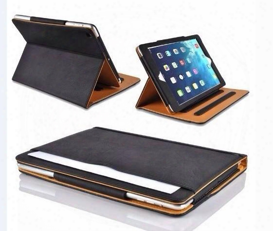Ipad6 Tan Leather Wallet Stand Flip Case Bag Smarrt Cover For Ipad Air 2 3 4 5 Air2 Mini Mini2 Mini3 Retina With Auto Sleep Wake Up Funtion