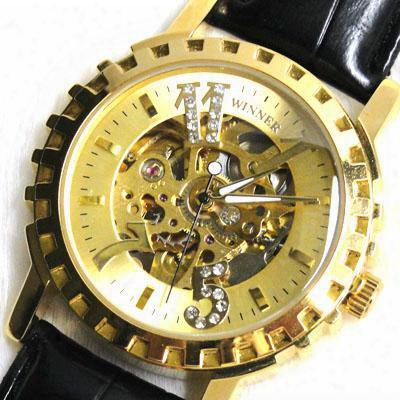 Mens Luxury Golden Dial Automatic Mechanical Watch