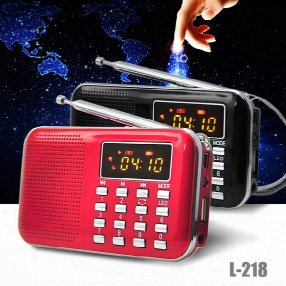 .mini Old Man Radio Portable L-218 Lcd Digital Fm Radio Speaker Usb Tf Card Aux Led Flashlight Mp3 Music Player