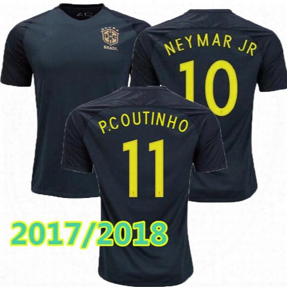 New Brazil Jersey 2017 2018 Soccer Jersey Camisa De Futebol Brasil Neymar Oscar Home Away Adult Football Shirt Tuai Quality