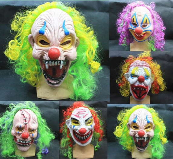 Party Decoration Party Mask Halloween Scary Party Mask Latex Funny Clown Wry Face Scary Mask