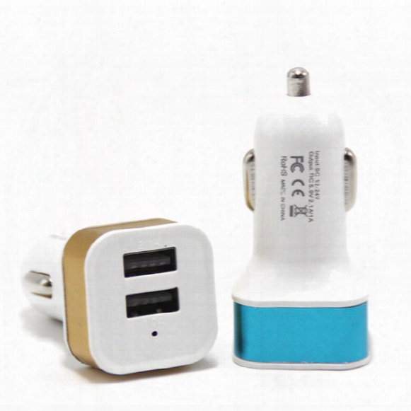 Promotion Metal 2.1a Dual Usb 2 Port Car Charger Adapter For Tablet Ipad Iphone5 6 6plus Samsung S6edge Note4 Note3 Mobile Phone