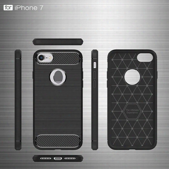 Rugged Case For Iphone 5 5s Se 6 6s 7 Plus Carbon Fiber Brushed Tpu Silicone Shockproof Anti Scratch Slim Armor Back Cover